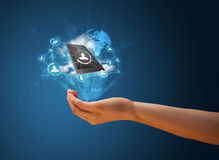 Cloud technology in the hand of a woman Stock Image