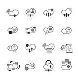 Cloud technology icons. Set with internet cloud icons. Different cloud technology Royalty Free Stock Images