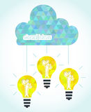 Cloud technology ideas concept. Light bulbs with cloud Stock Illustration