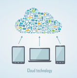 Cloud technology illustration with laptop phone and tablet Stock Photos