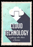Cloud Technology on Light Blue in Flat Design. Royalty Free Stock Photo
