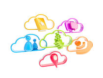 Cloud technology mobile application icons Royalty Free Stock Photos