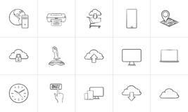 Cloud technology and mobile devices hand drawn outline doodle icon set. stock illustration