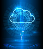 Cloud technology modern blue vector background. Clouds computing communication graphics concept Royalty Free Stock Photos