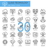 Cloud Technology. Pixel perfect icons , Thin line icons set Royalty Free Stock Image