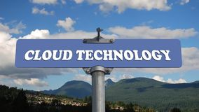 Cloud technology road sign with flowing clouds
