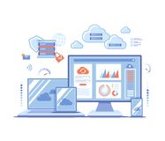 Free Cloud Technology Services Data Center Connection Hosting Server Database Synchronize Storage Login Page And Password On Monitor Royalty Free Stock Image - 152464146