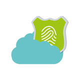 Cloud technology shield protection finger print. Illustration eps 10 Stock Photo