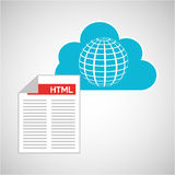 Cloud technology web language globe Stock Image
