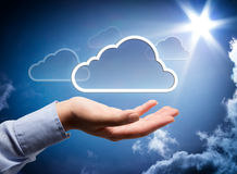 Cloud technology in your hand. Sky background royalty free stock photo