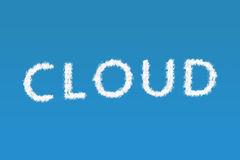 Cloud text. Clouds forming the word Cloud Royalty Free Stock Image