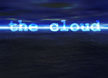 The Cloud Text on Blue Bright Ocean Sea Horizon. The Cloud Text on Stunning Blue Bright Ocean Sea Horizon at Night Royalty Free Stock Photography