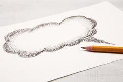 Cloud for a text drawn with pencil Royalty Free Stock Images