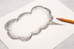Cloud for a text drawn with pencil Stock Photo