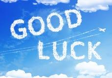Cloud text : Good Luck on the sky. Stock Photos