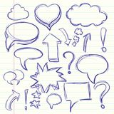 The cloud of thoughts conversation in the comics, exclamation and question marks. Collection sketch drawing. Illustration Royalty Free Stock Photos