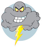 Cloud with thunderbolt. Evil storm cloud with thunderbolt cartoon character Stock Images