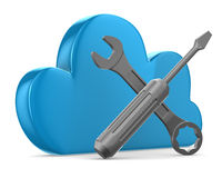Cloud and tools on white background Stock Photos