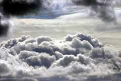 Cloud tops. Distant view of large cumulus clouds UK Royalty Free Stock Photography