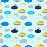 Cloud type seamless pattern on blue background stock illustration