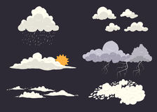 Cloud types vector set  on dark background with different nature states. Storm, cloudscape, sun, rain with top. View Stock Photos