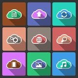 Cloud UI layout icons, squared shadows Royalty Free Stock Photo