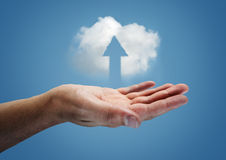 Cloud Up. A cloud hovering over a hand Royalty Free Stock Photo