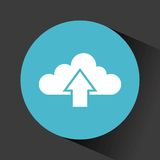 Cloud with upload arrow. Inside blue circle over black background. vector illustration Stock Photography