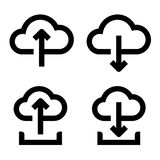 Cloud upload and download icon set Royalty Free Stock Photography