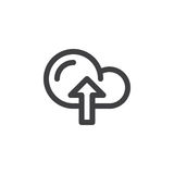 Cloud upload line icon, outline vector sign, linear pictogram isolated on white. Stock Photography