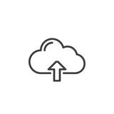 Cloud upload line icon, outline vector sign, linear style pictogram isolated on white Stock Images