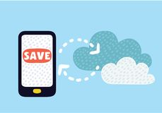 Cloud upload from mobile phone to store data on server Royalty Free Stock Photos