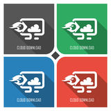 Cloud upload to PC flat vector icon on colorful background. simple PC web icons eps8. Royalty Free Stock Image