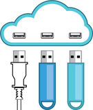 Cloud USB hub vector Stock Photos