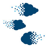 Cloud vector icon set blue color on white background Royalty Free Stock Image