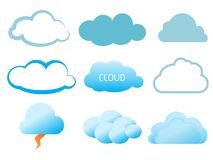 Cloud vector icon set Stock Image