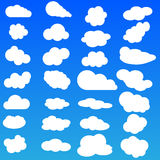 Cloud vector icon set white color on blue background Royalty Free Stock Photo