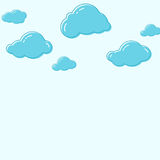 Cloud vector icons. Abstract background with cartoon cloudy. Cloud vector icons. Sky blue atmospheric bubbles. Comic nature cloudscape weather symbols. Cute Stock Image