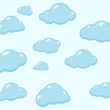 Cloud vector icons. Abstract background with cartoon cloudy. Cloud vector icons. Sky blue atmospheric bubbles. Comic nature cloudscape weather symbols. Cute Stock Photography