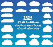 Cloud vector icons isolated over blue sky background Stock Photos