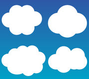 Cloud vector icons isolated over gradient blue background Royalty Free Stock Photos