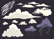 Cloud vector set isolated on dark background, cartoon storm cloudscape with different types.  Stock Photo