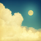 Cloud. Vintage moon sky background in summer style Stock Photo