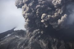 Cloud of volcanic ash from Sakurajima Kagoshima Japan Royalty Free Stock Photo