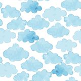 Cloud watercolor blue and white seamless pattern stock illustration