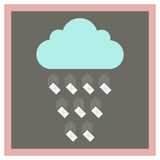 Cloud from which fall envelopes Royalty Free Stock Image