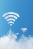 Cloud wifi on blue sky Royalty Free Stock Photography