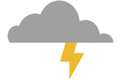 Cloud witn lightning ray icon Stock Images