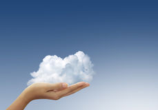 Cloud in woman hands Royalty Free Stock Image