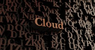 Cloud - Wooden 3D rendered letters/message Stock Images